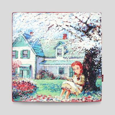 빨강머리앤 명화 방석커버 45x45x3cm 레드