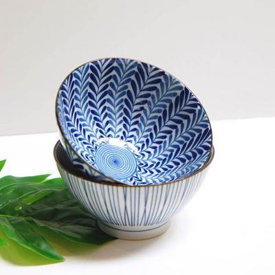 블루패턴 면기 라면그릇