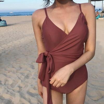 홀리 여성 리본 랩 모노키니 수영복