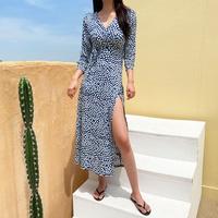 홀리 여성 물방울 랩 롱 원피스 (XL추가 입고, 77까지 예쁘게 입자)