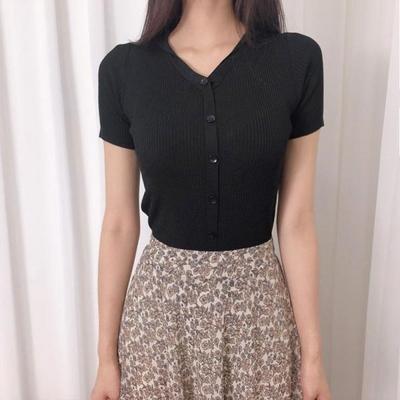 홀리 여성 카라 브이넥 반팔 티셔츠