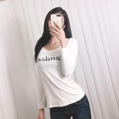 홀리 여성 슬림 라운드 레터링 스판 티셔츠
