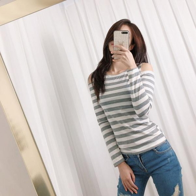 홀리 여성 슬림 어깨트임 스트라이프 티셔츠