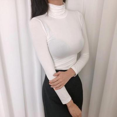 홀리 여성 폴라 시스루 긴팔 티셔츠