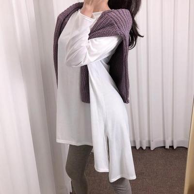 홀리 여성 루즈핏 긴팔 롱 면 티셔츠