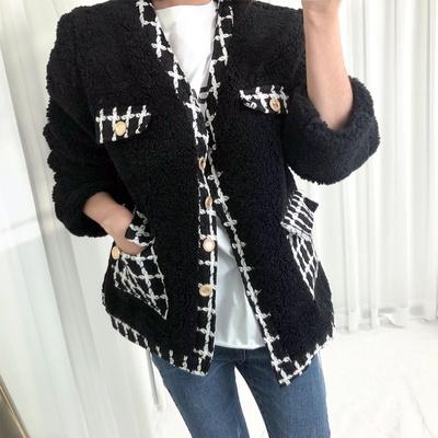 홀리 여성 뽀글 트위드 자켓