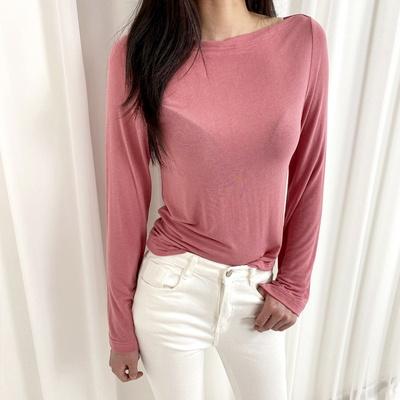 홀리 여성 보트넥 소매트임 티셔츠