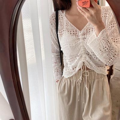 홀리 여성 셔링 레이스 끈 크롭 티셔츠