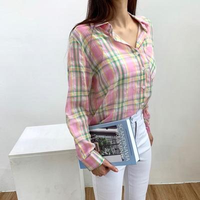 홀리 여성 체크 아사 루즈핏 셔츠