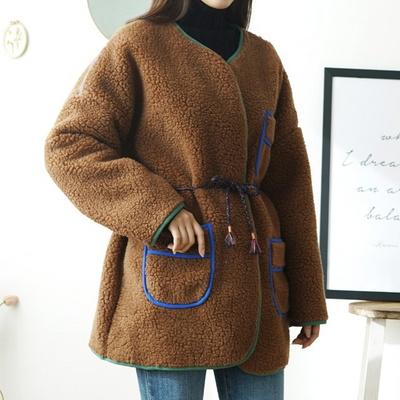 겟잇미 스트랩 포켓 오버핏 양털 뽀글이 자켓