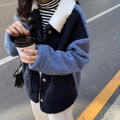 겟잇미 뽀글이 컬러 싱글 카라 덤블 자켓