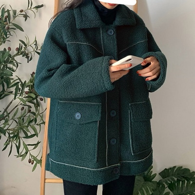 겟잇미 포켓 심플 덤블 뽀글이 하프자켓