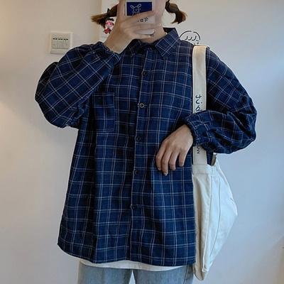 겟잇미 카라 포켓 데일리 체크 기모셔츠