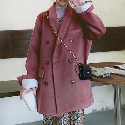겟잇미 데일리 테일러드 모직 핑크 하프코트