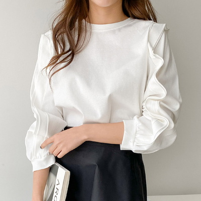 겟잇미 여성 라운드 소매 러플 티셔츠