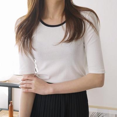 겟잇미 무즈 배색 스판 타이트핏 슬림 티셔츠