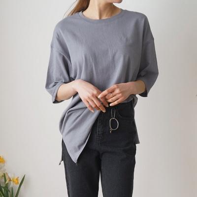 겟잇미 코튼 기본 레이어드 롱 트임 티셔츠