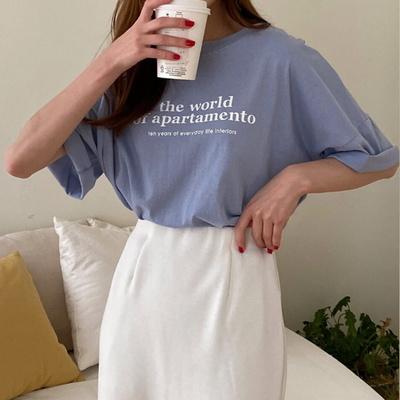 겟잇미 여성 라운드 레터링 반팔 티셔츠