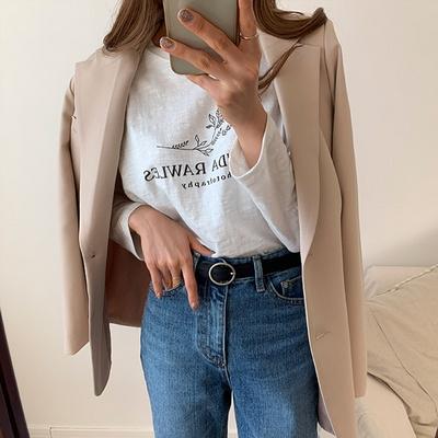 겟잇미 라운드 코튼 나염 프린팅 영어 티셔츠