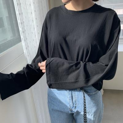 겟잇미 소매포인 기본 라운드 크롭 티셔츠