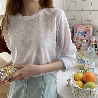 겟잇미 시스루 얇은 무지 라운드 슬라브 티셔츠