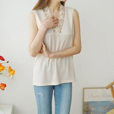 겟잇미 여름 봄 레이스 브이넥 나시 티셔츠