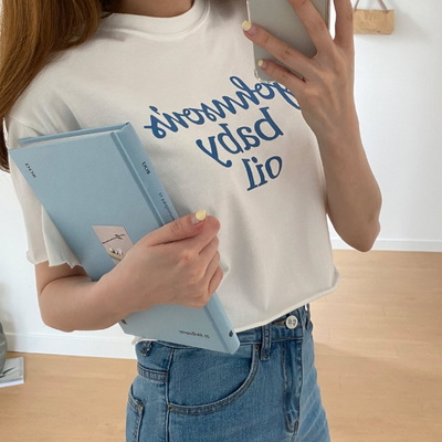 겟잇미 프린팅 레터링 반팔 크롭 티셔츠