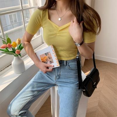 겟잇미 데일리 여성 하트넥 크롭 셔링 티셔츠
