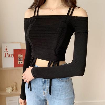 겟잇미 스판 슬림 긴팔 끈 오프숄더 티셔츠