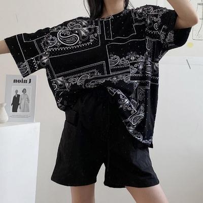 겟잇미 프린팅 루즈핏 코튼 데일리 반팔티셔츠