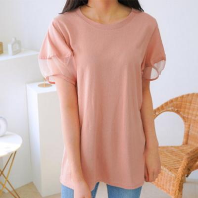 겟잇미 포인트 시스루소매 페미닌 티셔츠
