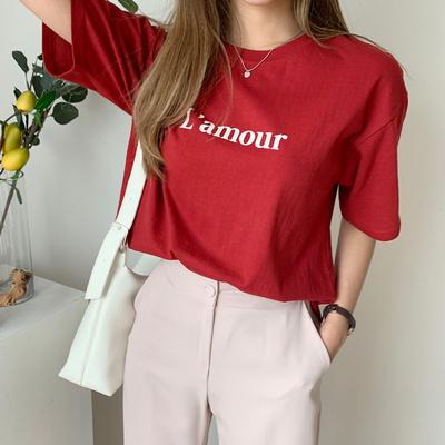 겟잇미 여름 레터링 라운드 반팔 기본 컬러 티셔츠