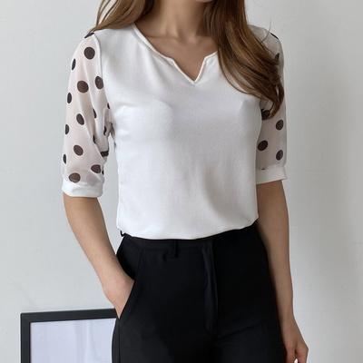 겟잇미 슬리브 반팔 라운드 도트 패턴 티셔츠