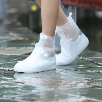 레인 장화 방수 슈즈 신발 보호 투명 커버 버튼형 42