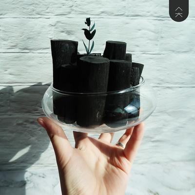 공기정화용 숯 화분 둥근 유리숯