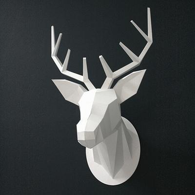 Paper Hunting Trophy-Deer Head(White)