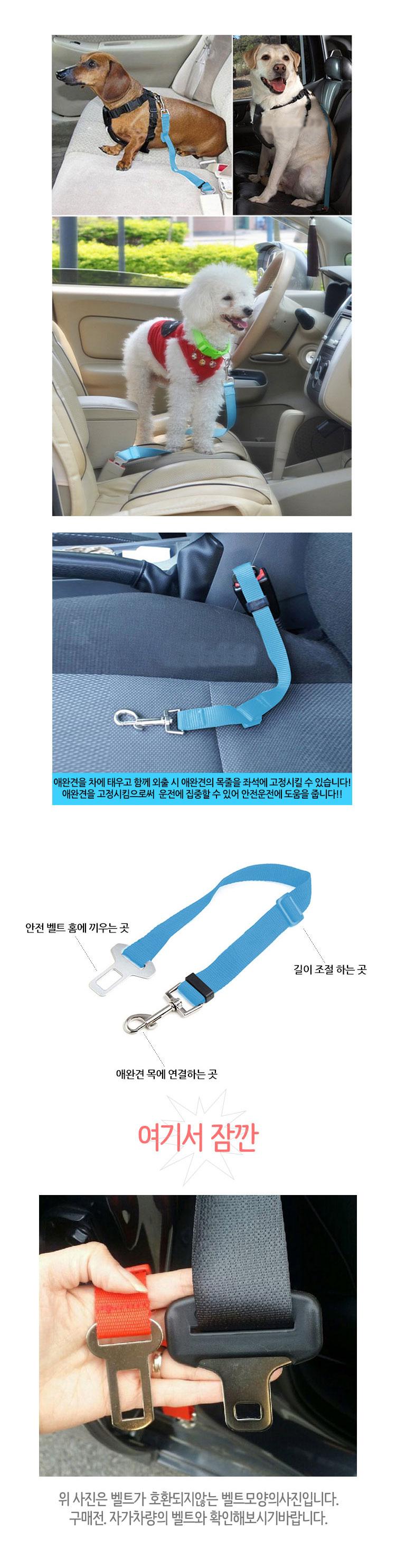 차량용 애견 안전벨트 - 재미월드, 2,800원, 이동장/리드줄/야외용품, 리드줄
