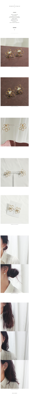 데일리 플라워 와이어 진주 딱붙는 귀걸이 - 소유니즈마켓, 8,000원, 골드, 볼/미니귀걸이