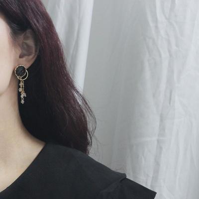 (자체제작) 화려한 오로라 링 체인 귀걸이