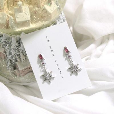 (제작) 눈 속에 핀 꽃 은침 귀걸이
