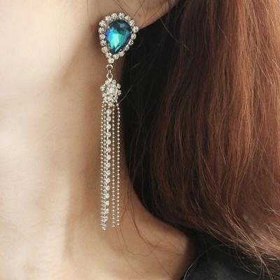 (제작) 퀸 오브 사파이어 롱 귀걸이 2color