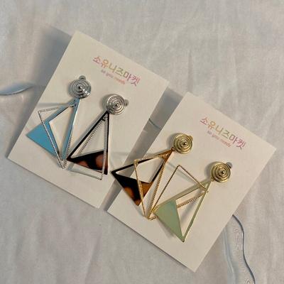 (제작) 도플 삼각 은침 귀걸이 2color