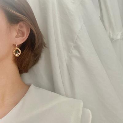 (제작) 그린로즈 큐빅 링 귀걸이 2color