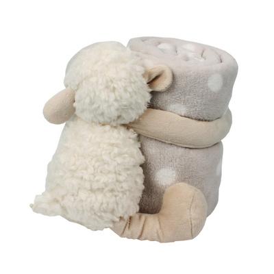 아기 담요 블랭킷 안고 있는 뽀글이 양인형 무릎담요 브라운