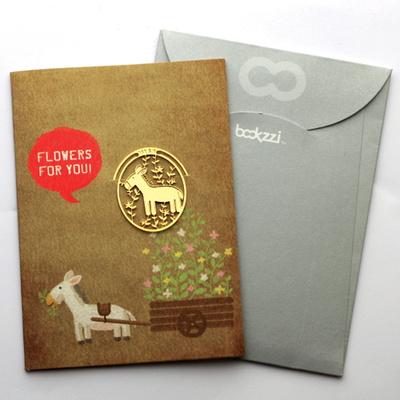 빈티지 망아지와 꽃마차 - 책갈피 카드