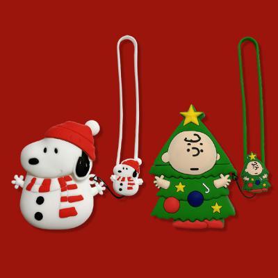 에어팟케이스/1/2세대 크리스마스 캐릭터 실리콘 스트랩 키링케이스/철가루방지스티커 사은품