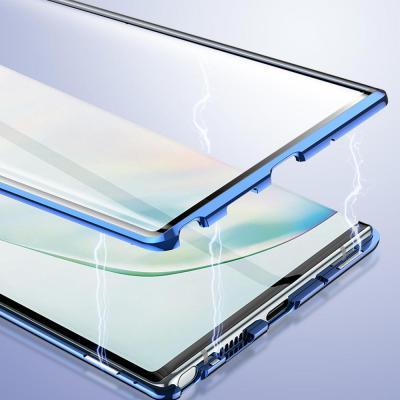 갤럭시노트10/노트10플러스/노트9 강화유리 투명 마그네틱 풀커버/메탈 범퍼케이스