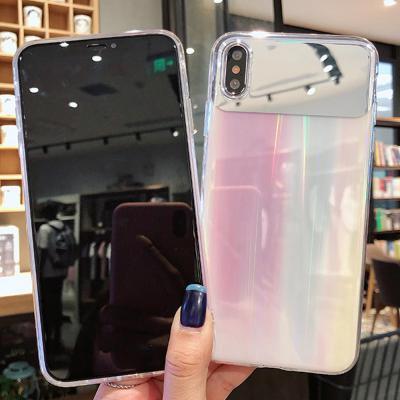 아이폰se2 11 11pro max xr xs 7 8 + 프로 맥스 블링 오로라 그라데이션 미러 핸드폰 하드케이스