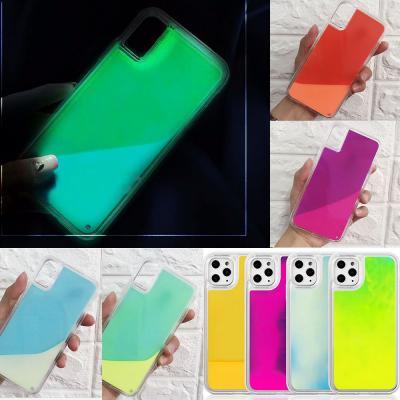 아이폰 케이스 11pro max/프로 맥스 x xs xr se2 7 8플러스 야광 네온샌드 컬러 액체 투명 하드 휴대폰 스킨