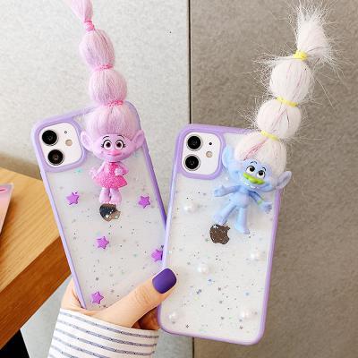 아이폰 12 pro 미니 11 x xs max 프로 xr se2 7 8+ 트롤 인형 데코 캐릭터 투명 젤리 케이스
